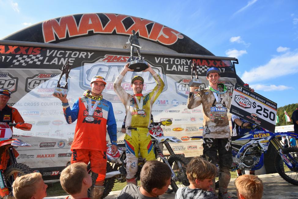 Overall Podium: (2) Kailub Russell, (1) Ryan Sipes, (3) Ricky Russell.