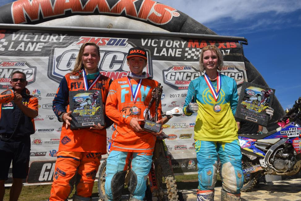 10 a.m. Overall Podium: (2) Mackenzie Tricker, (1) Becca Sheets, (3) Brooke Cosner.