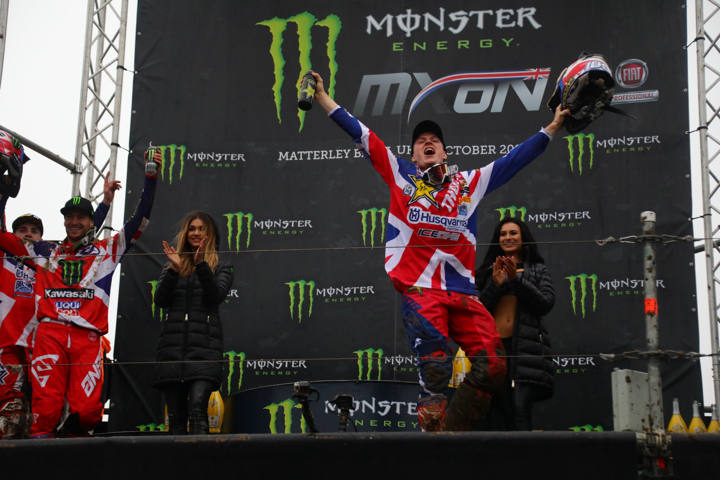 Max Anstie celebrates a 1-1 finish and a podium for Team Great Britain.