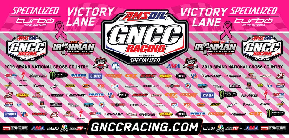 The IronmanGNCCpink backdrop will be auctioned off Saturday evening.