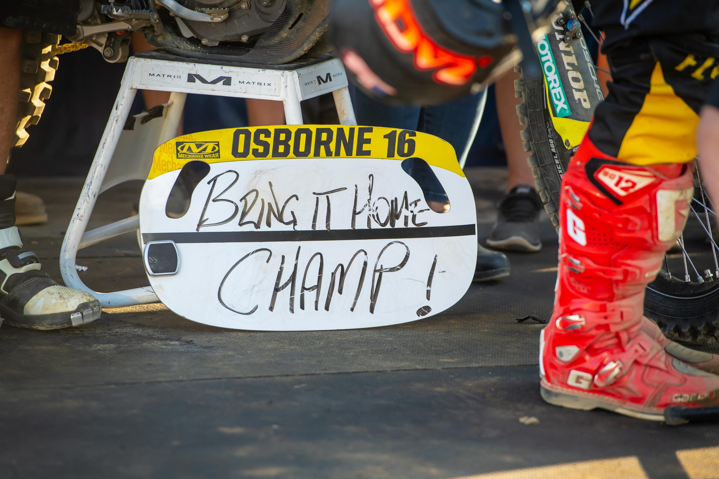The final message Feeney gave Osborne during the 2020 Lucas Oil AMA Pro Motocross Championship.