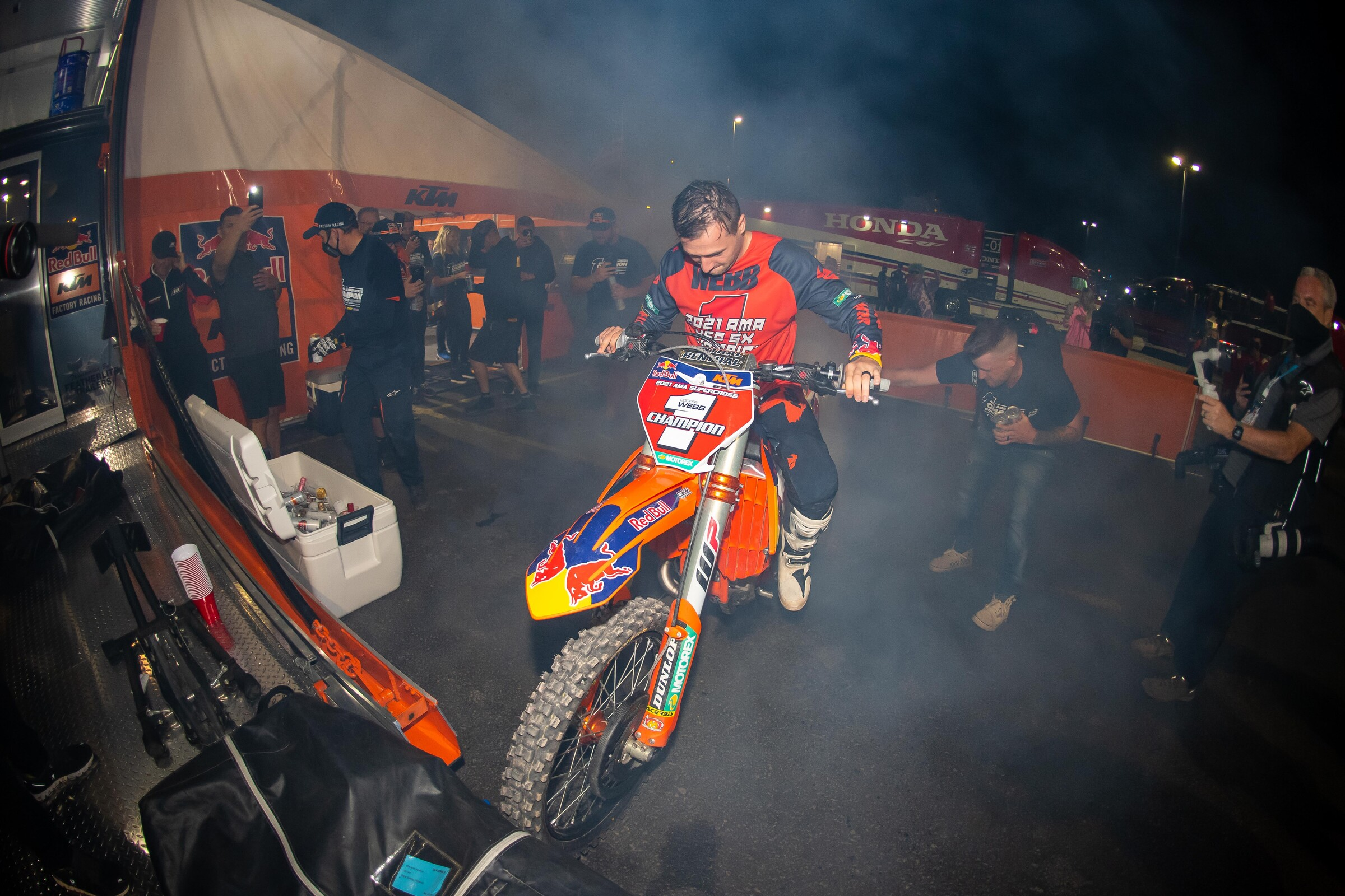 Webb performing 450SX champion burnout #2 in the pits on Saturday night.