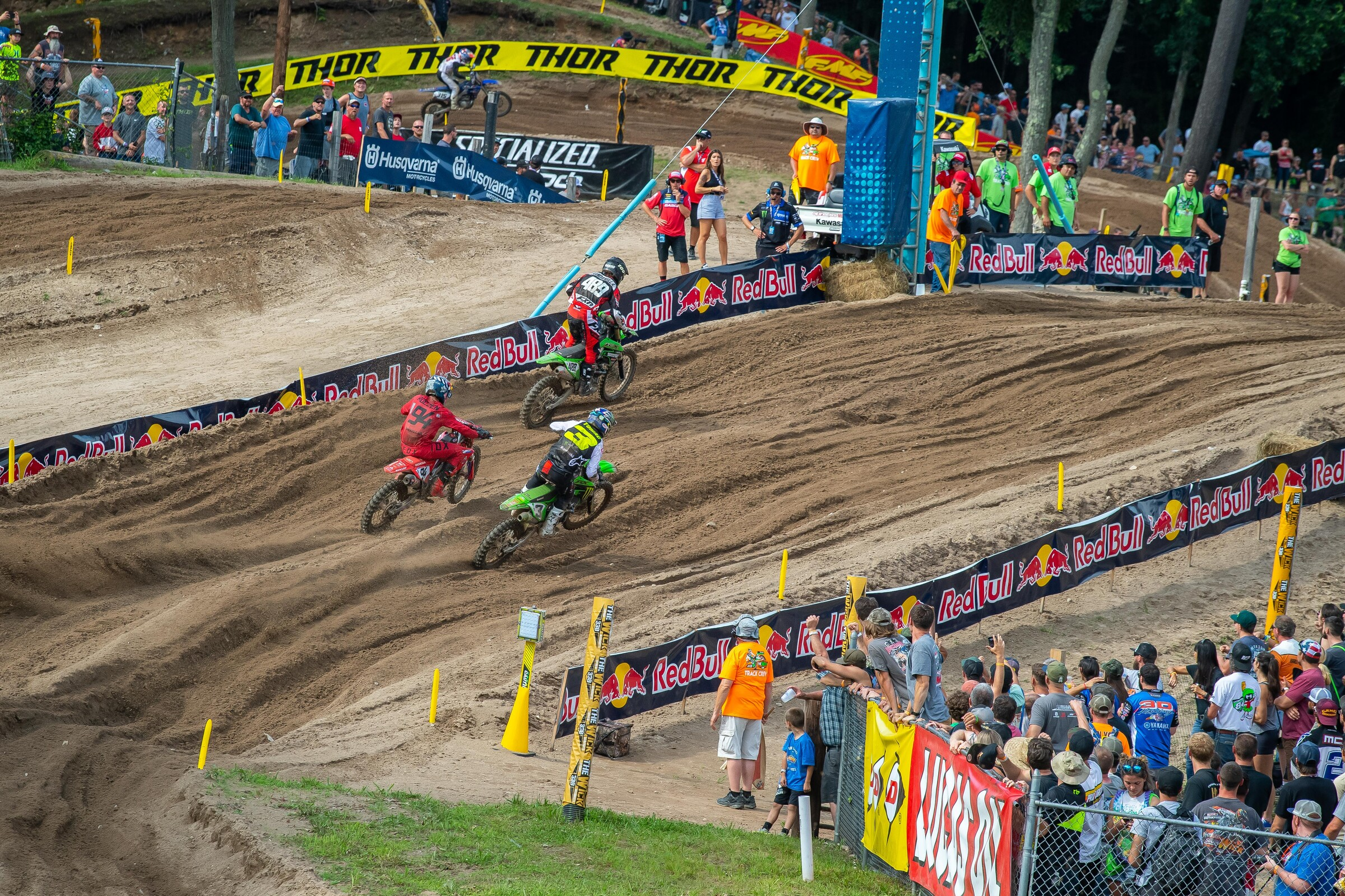 Tomac taking the lead from Roczen in the second moto. His eighth in moto 1 held him to fourth overall on the day.